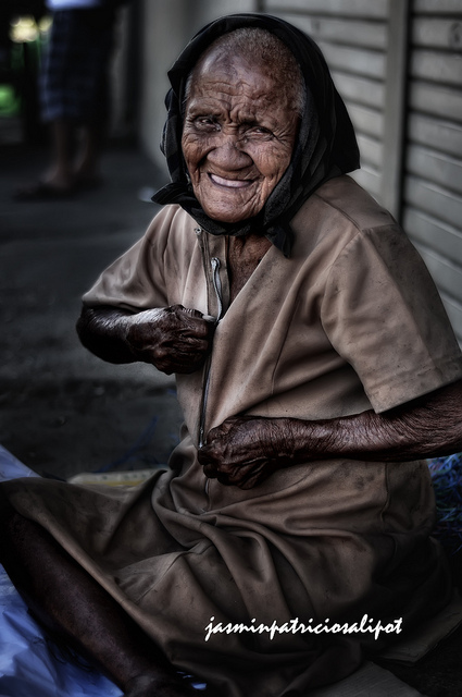 Homeless Lady Smiling