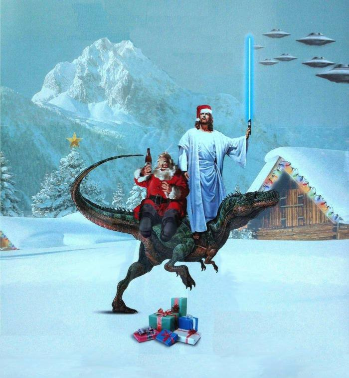 Jesus with a light saber and Santa with beer on a T-Rex
