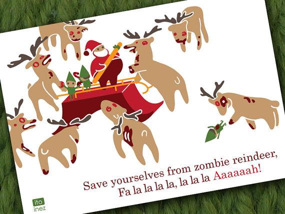 Reindeer Zombie Christmas Card