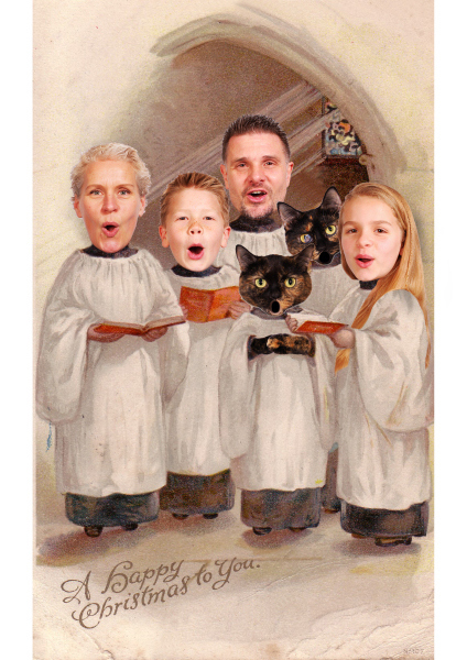 Family Choir Cat Christmas Card