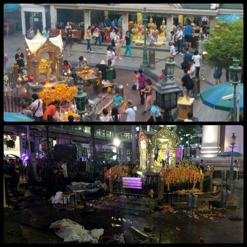 Erawan Shrine Before After Bomb